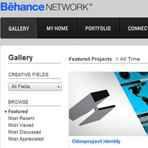 Odooproject Identity on Behance's mainpage